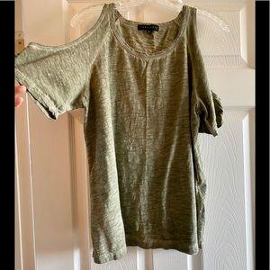 SANCTUARY Olive Green Cold Shoulder Top Size LG